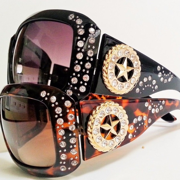 a0352ab16ad8 Womens Fashion Rhinestone Sunglasses Cowgirl Star